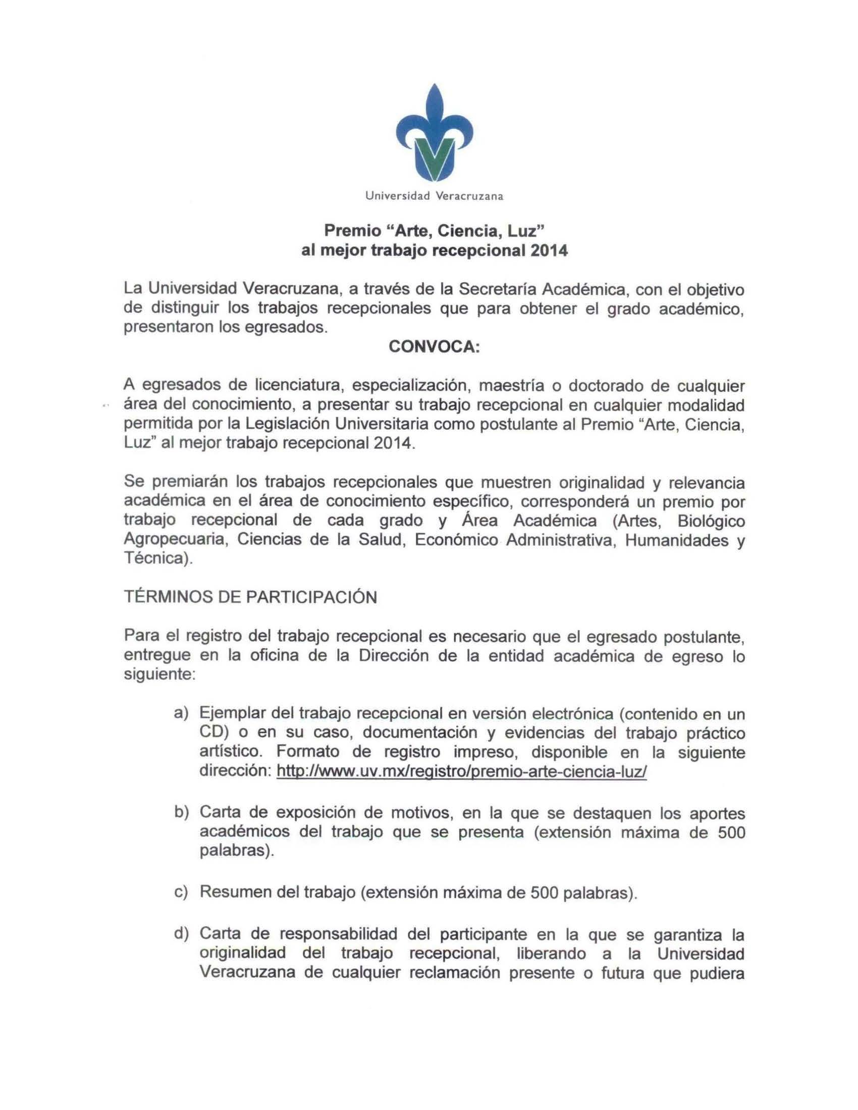 """Convocatoria Premio """"Arte Ciencia Luz"""" al mejor trabajo recepcional ..."""