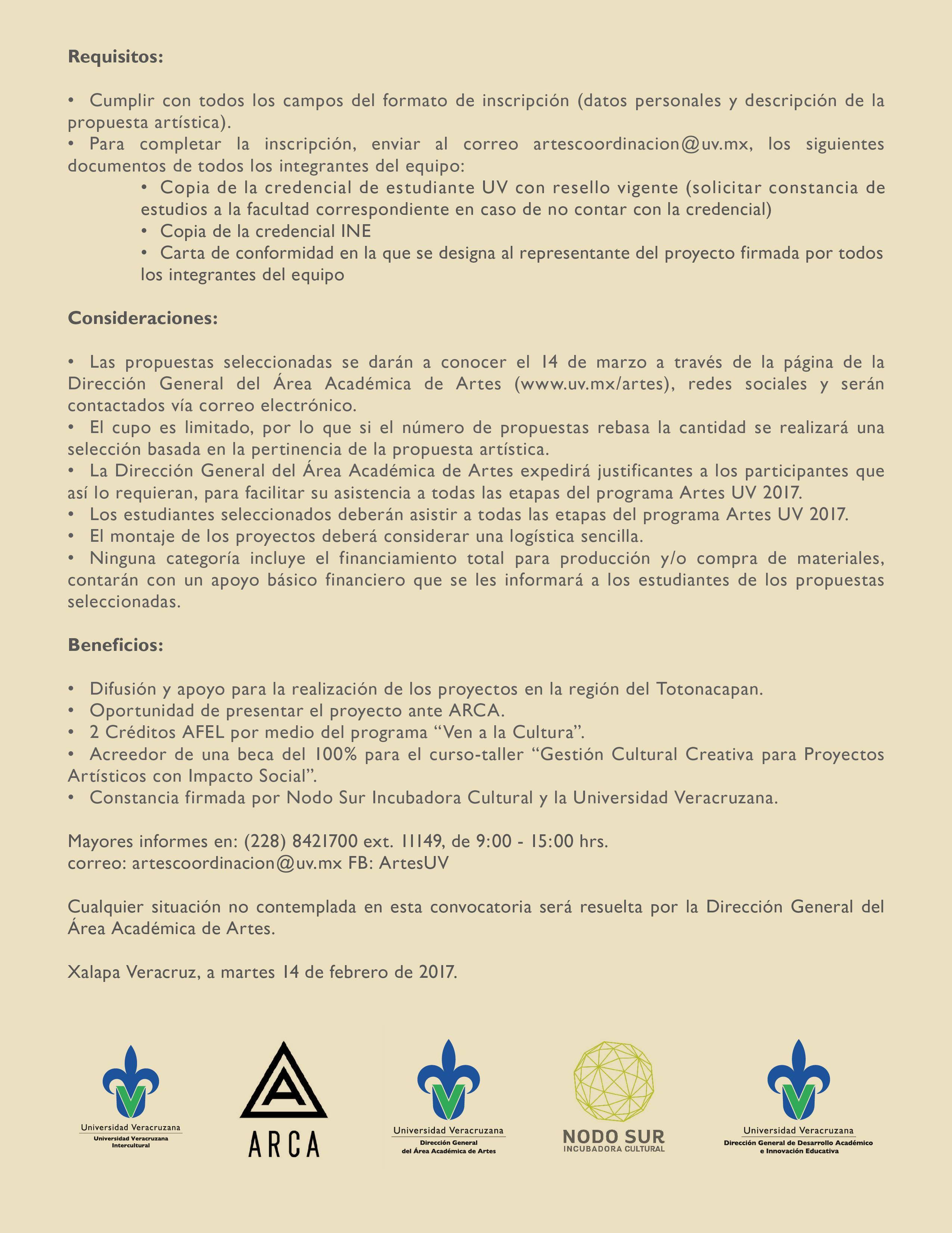 Convocatoria artesuv 2017 direcci n general del rea for Convocatoria de docentes 2017