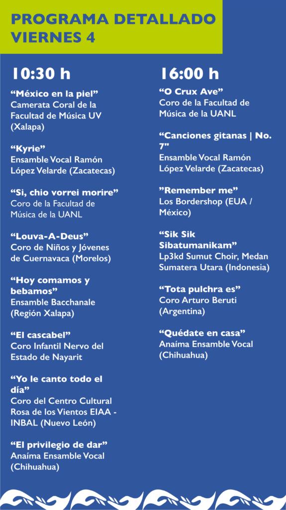 Programa detallado V FCU Artes UV Viernes