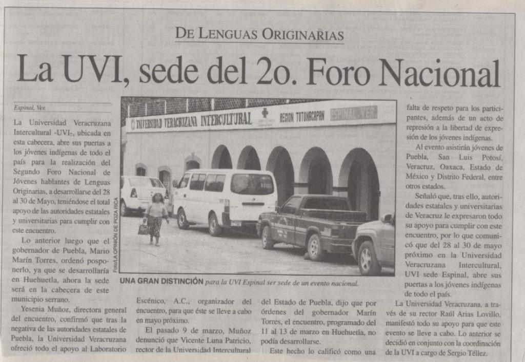 Fuente: Diario La Opinión, Poza Rica, Ver.