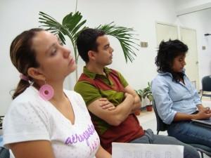 Mónica Hernández Guapillo (Medicina), Abel Rogelio Terrazas y Zunev Cámara Verdugo (ambos de la Unidad de Enlace Académico, UVI)