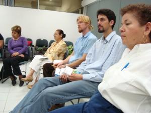 Norma Morales Sánchez (Vice Rectoria), Curtis Wilson y Christopher Gómez (ambos del Programa Universitario para la Transdisciplina..., UV), Amalia Mar García (Contaduría SEA)