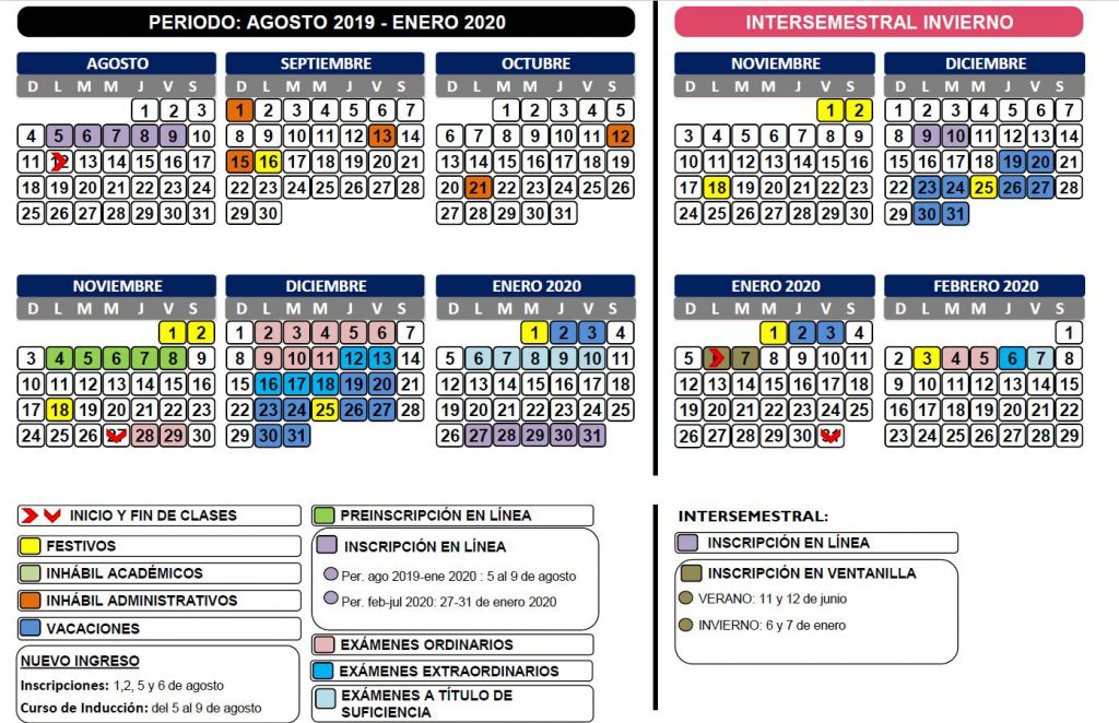 Calendario De Agosto 2020.Calendario Escolar 2019 Facultad De Derecho
