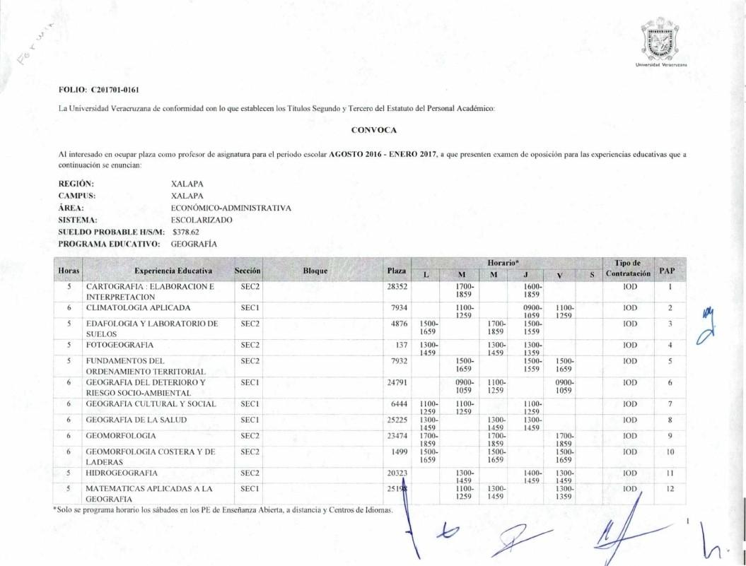 Licenciatura geograf a convocatoria plaza como profesor for Convocatoria de plazas docentes 2017