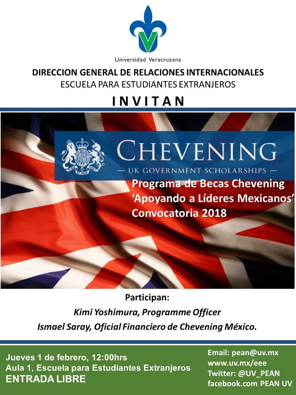 """Cartel - Programa de becas Chevening """"Apoyando a Líderes Mexicanos"""" Convocatoria 2018"""