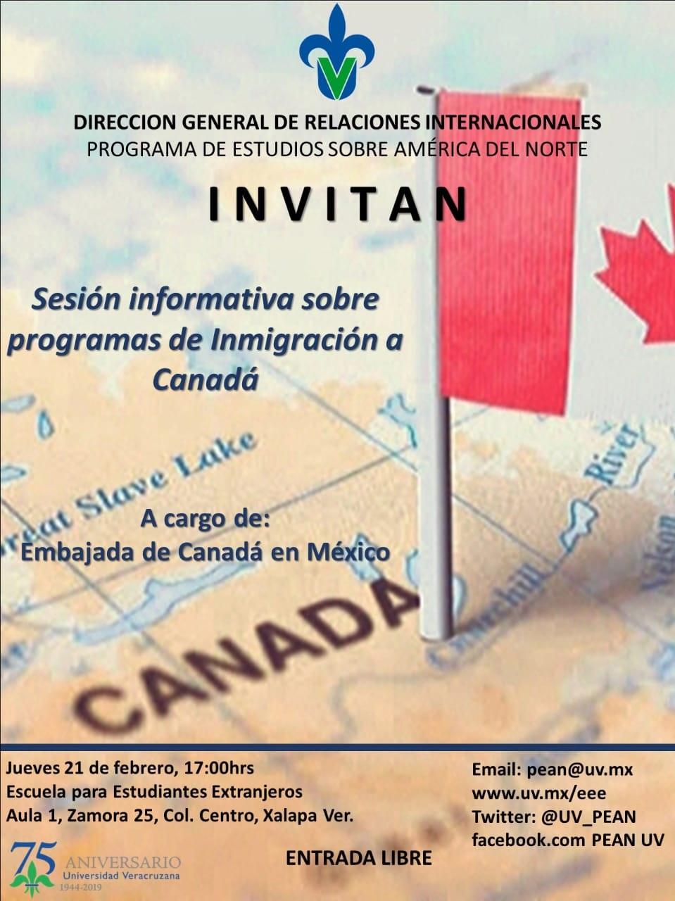 Cartel: Sesión informativa sobre programas de inmigración a Canadá