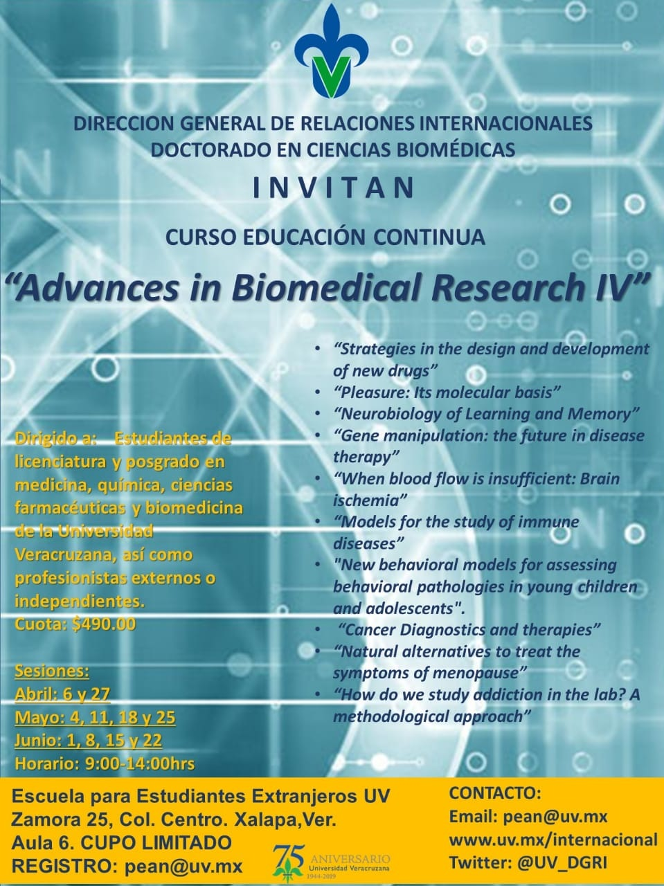 Cartel DGRI: Curso - Advances in Biomedical Research IV