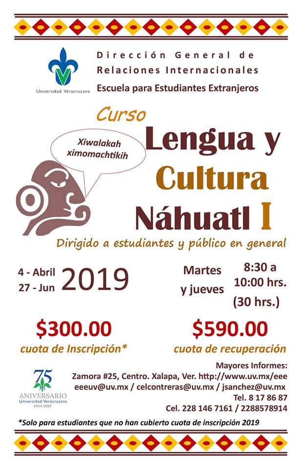 Cartel Curso lengua y cultura Náhuatl