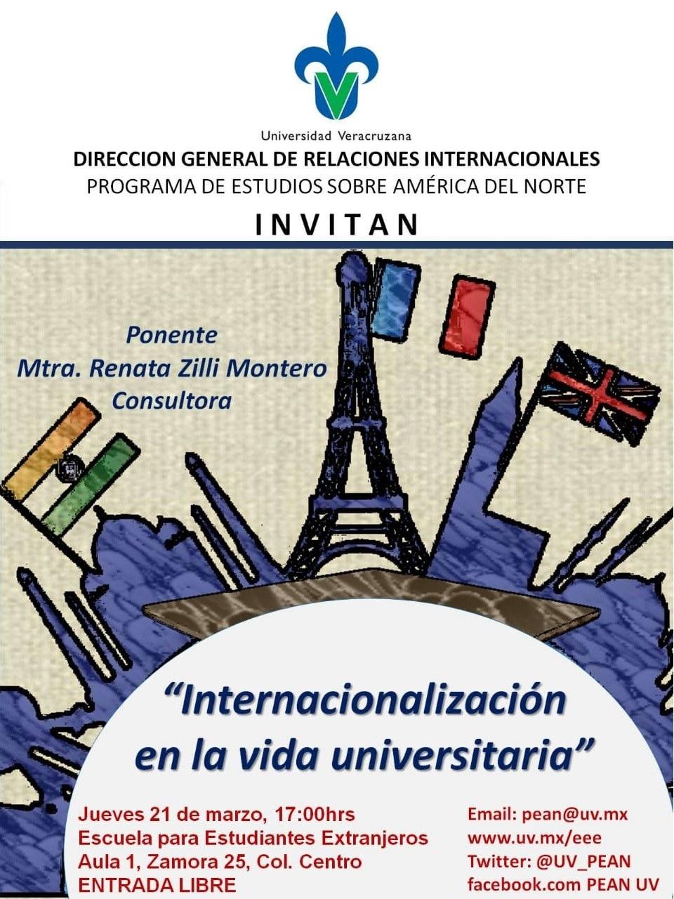 Cartel PEAN: Internacionalización en la vida universitaria