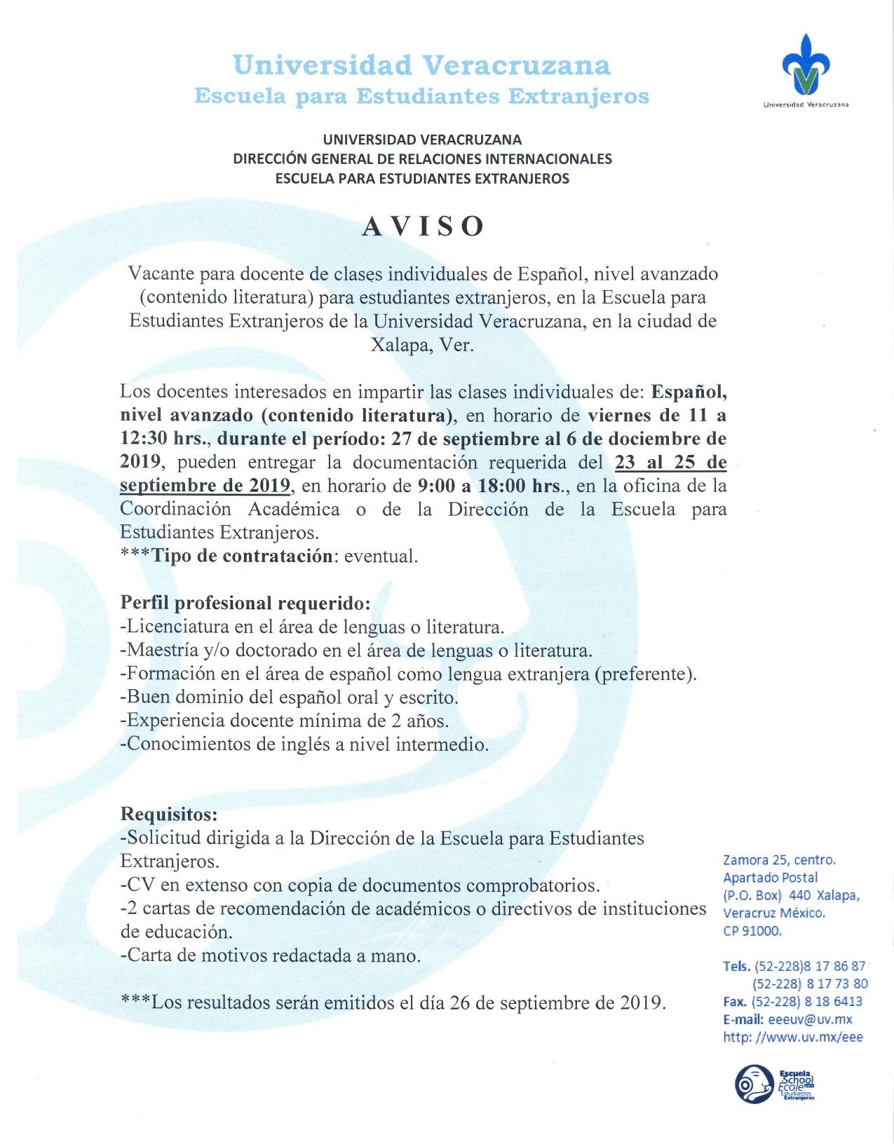 Convocatoria docente Septiembre 2019-1