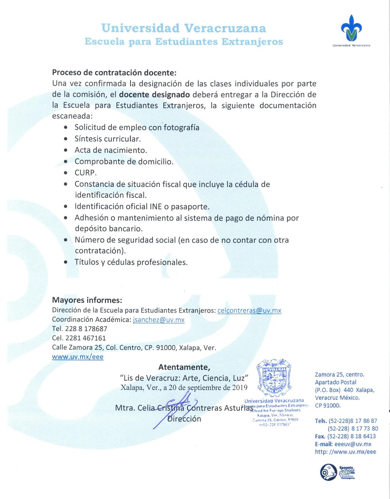 Convocatoria docente Septiembre 2019-2