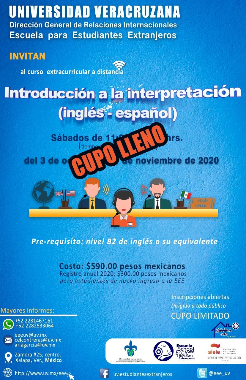 Curso: Introducción a la interpretación (inglés - español)2020-2