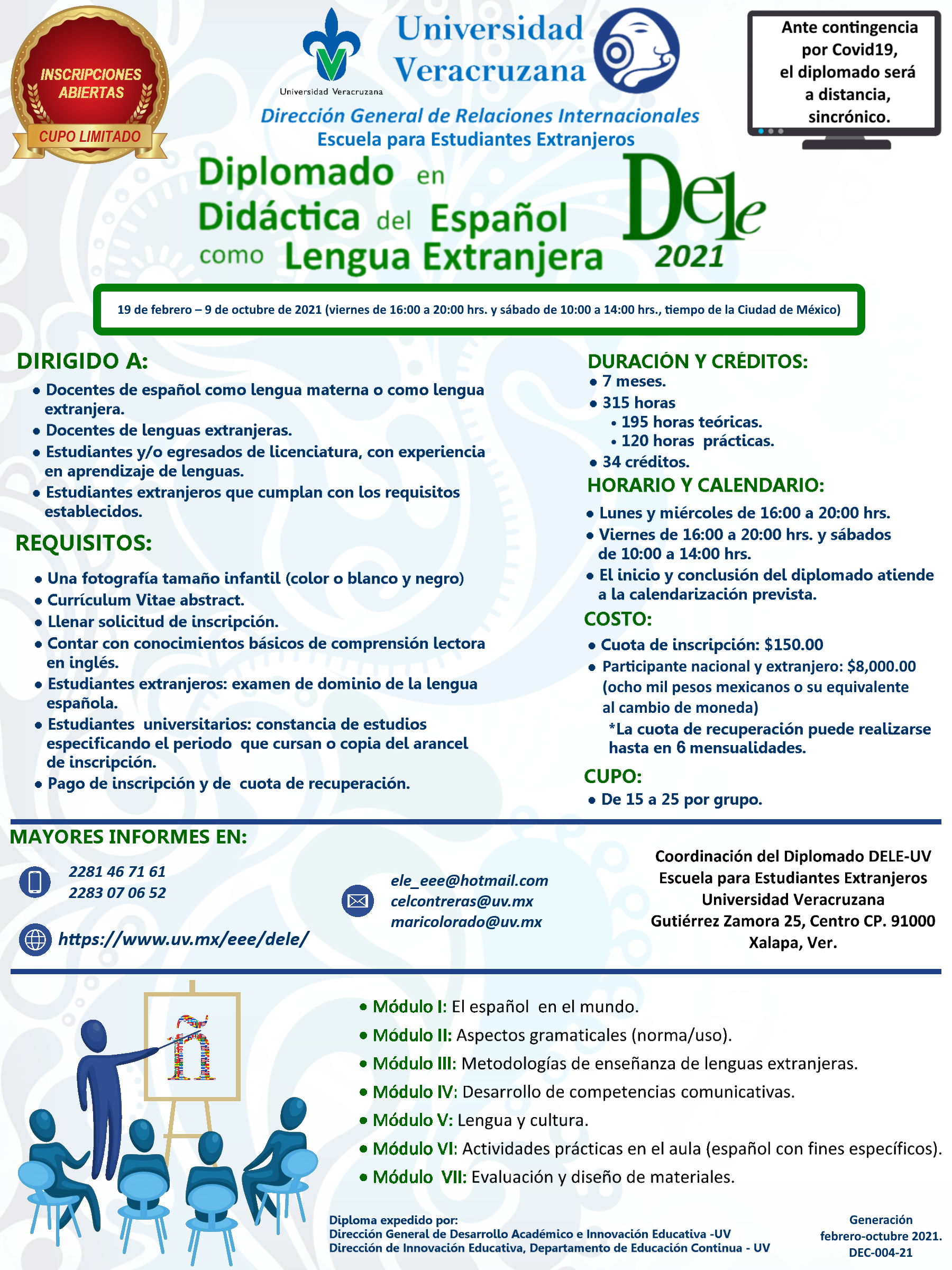 Cartel Diplomado en Didáctica del Español como Lengua Extranjera 2021