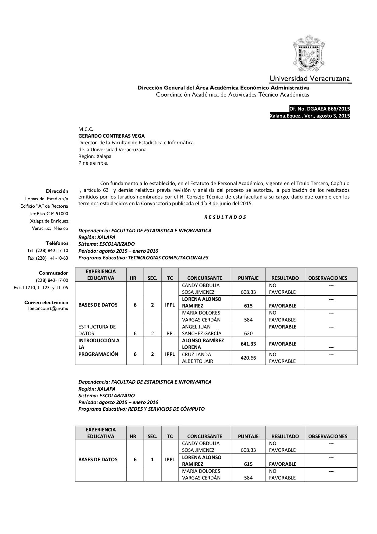 Resultados de convocatoria para docentes por asignatura for Convocatoria para docentes