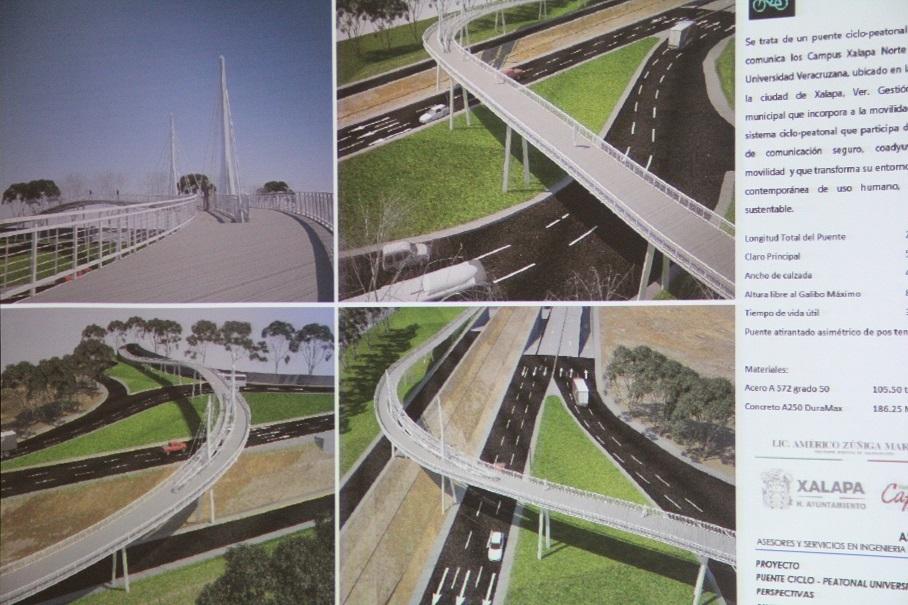 Proyecto de construcción del puente peatonal para la zona universitaria.