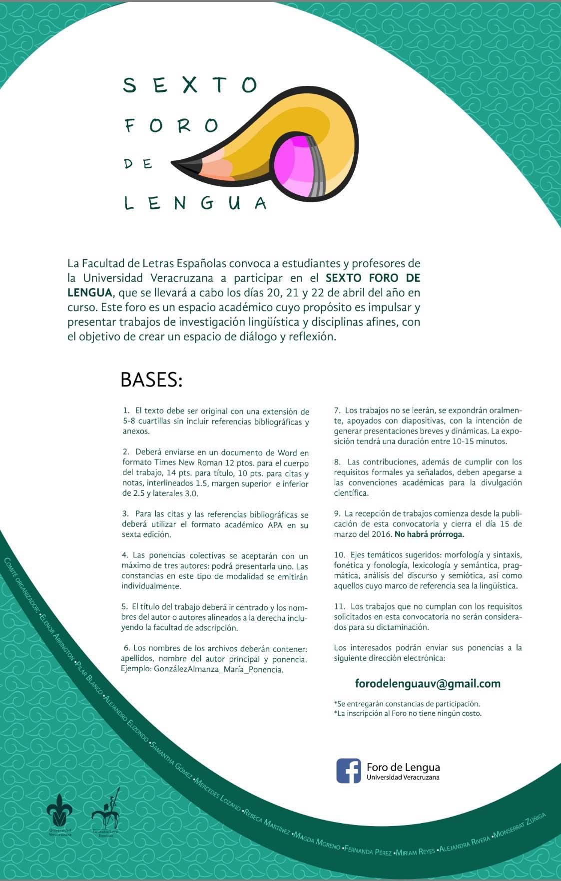 Letras UV convoca al Sexto Foro de Lengua - Comunicación Universitaria