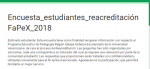 Proceso para la Reacreditación: Encuesta para estudiantes FAPEX 2018