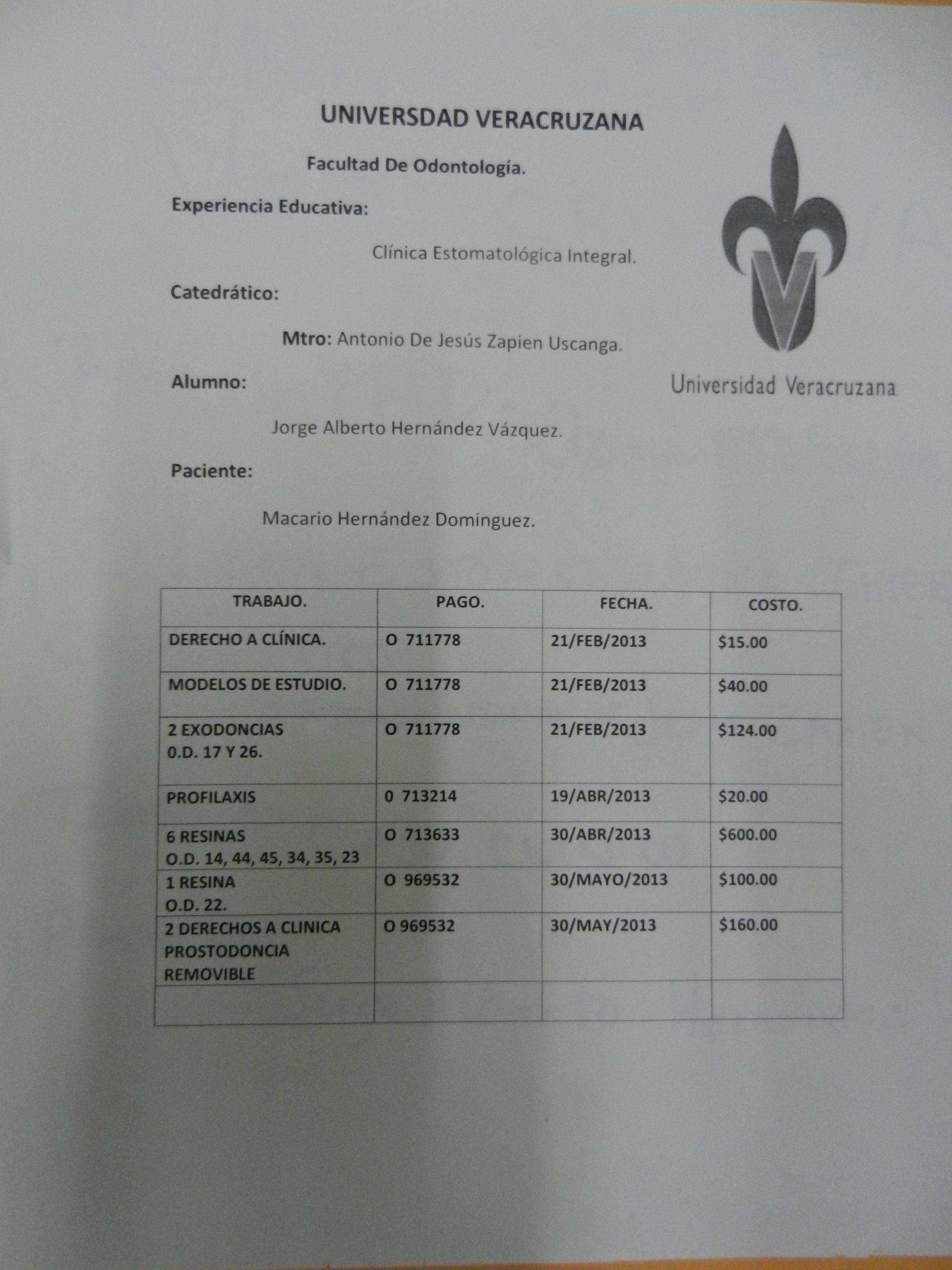 expediente clínico para el paciente. Antonio de Jesús Zapién ...