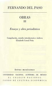 Fernando del Paso Obras III - portada