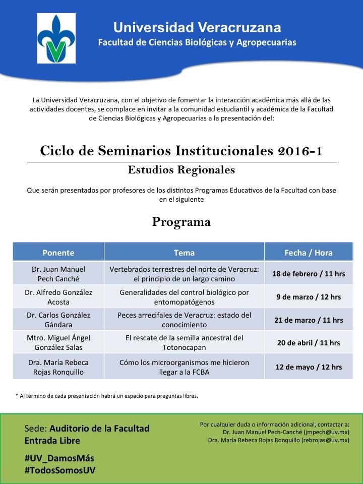 Seminarios institucionales 2016-1