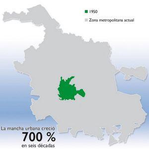 Comparación entre área urbana de 1950 y la actual.