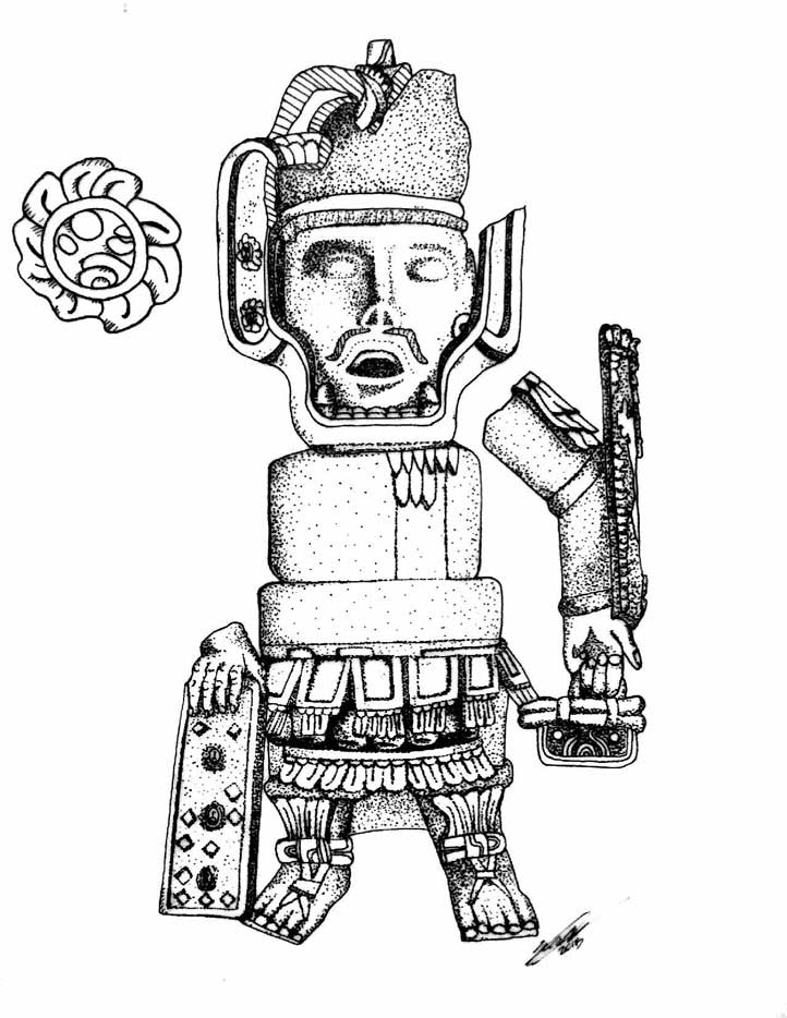 Dibujo de El Señor de Matacapan (figura de barro del Museo Tuxteco), que tiene a un costado el glifo Ojo de Reptil incrustado varias veces, realizado por Maximiliano Sauza basado en fotografías de Lourdes Budar y David Gárate