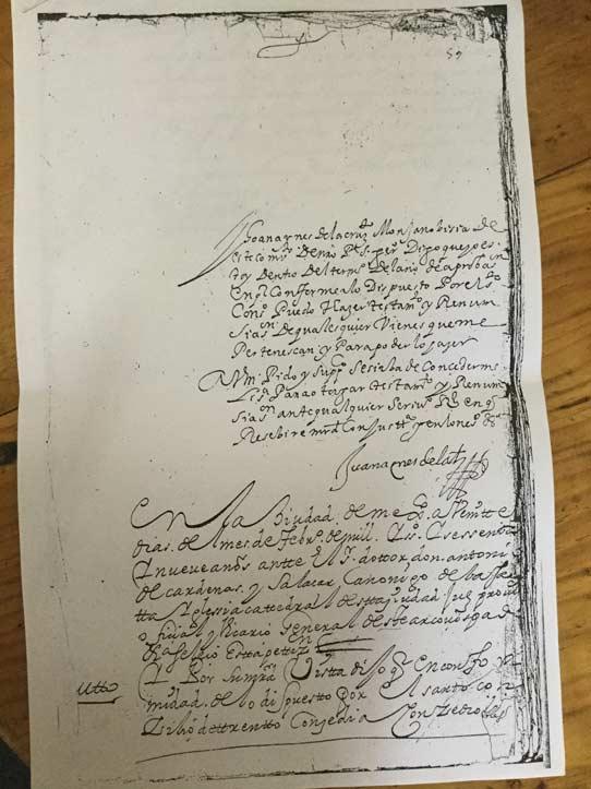 Carta de Sor Juana Inés de la Cruz (del Archivo Claustro de Sor Juana)
