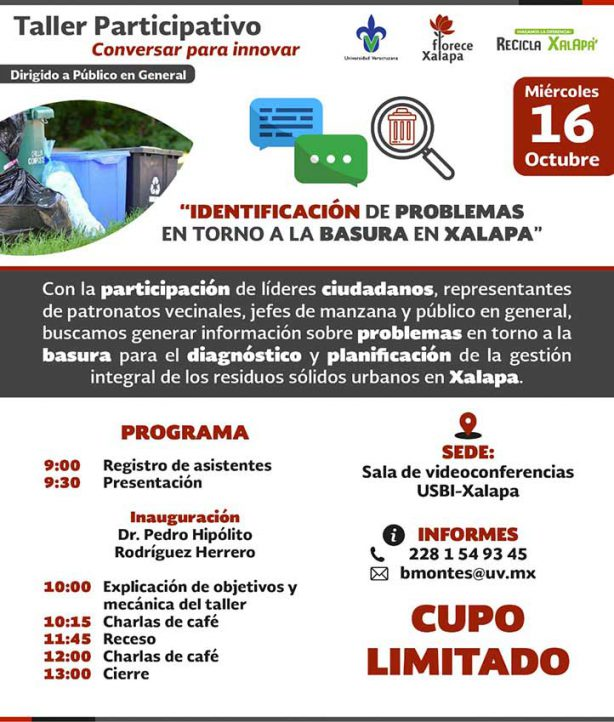 """El 16 de octubre, la UV realizará el taller """"Identificación de problemas en torno a la basura en Xalapa"""""""