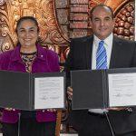 Sara Ladrón de Guevara y Jesús Guillermo Arévalo firmaron convenio general de colaboración