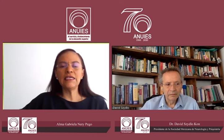 Gabriela Nery Pego (moderadora) y David Szydlo Kor, durante la charla sobre los impactos del COVID-19 en el cerebro