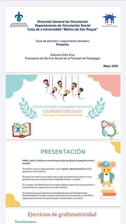 Guía de grafomotricidad realizada por Gabriela Ortiz, prestadora de servicio social en la Casa UV Molino de San Roque