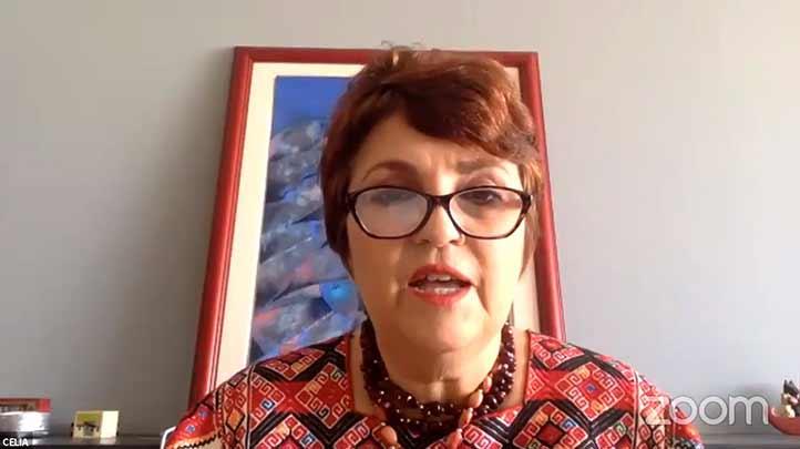 Celia del Palacio, investigadora de la Universidad Veracruzana, moderó el conversatorio