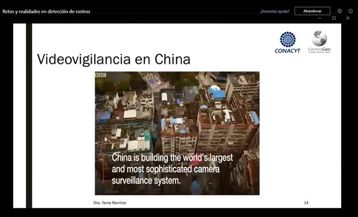Tania Ramírez, investigadora del CentroGeo del Conacyt, habló de los avances en tecnología de reconocimiento facial