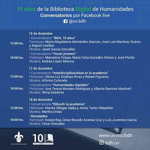El programa de actividades está conformado por una serie de conversatorios sobre la historia de la BDH