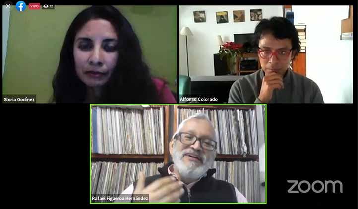 Gloria Luz Godínez, Alfonso Colorado y Rafael Figueroa conversaron de manera virtual respecto a las obras de la Biblioteca Digital de Humanidades