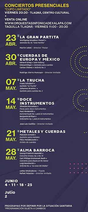Cartelera OSX para inicio de conciertos presenciales