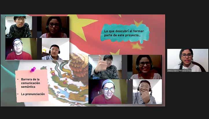 Nesly Herrera, alumna de Logística Internacional en la región Veracruz, compartió su experiencia con alumnos de China