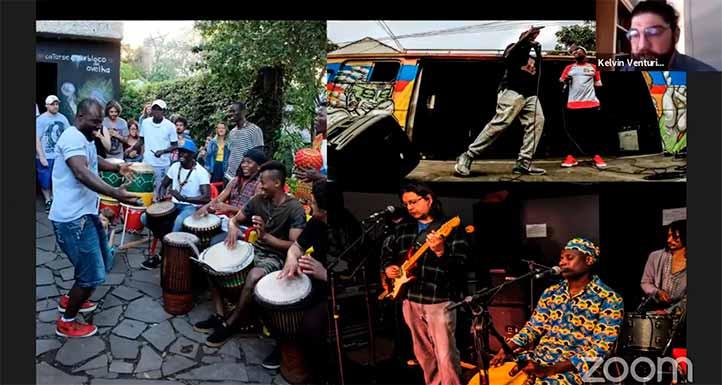 Kelvin Venturin, de Brasil, trabajó con músicos de Senegal que llegaron recientemente al país sudamericano