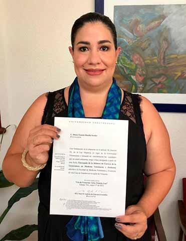 Diana Pamela Bonilla Sessler es la nueva encargada de la Jefatura de Carrera de la Licenciatura en Medicina Veterinaria y Zootecnia