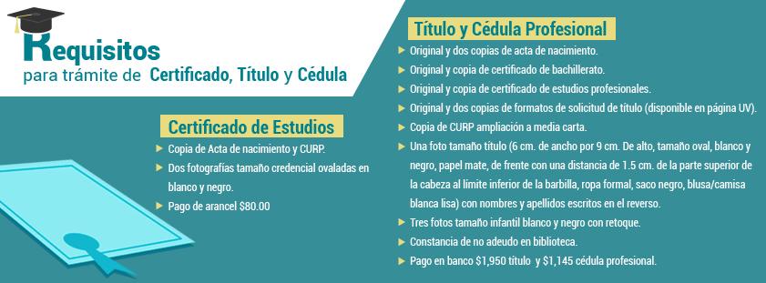 Requisitos para trámite de Certificado, Título y Cédula