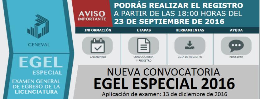Convocatoria EGEL Aplicación Especial 2016 (DICIEMBRE 2016)