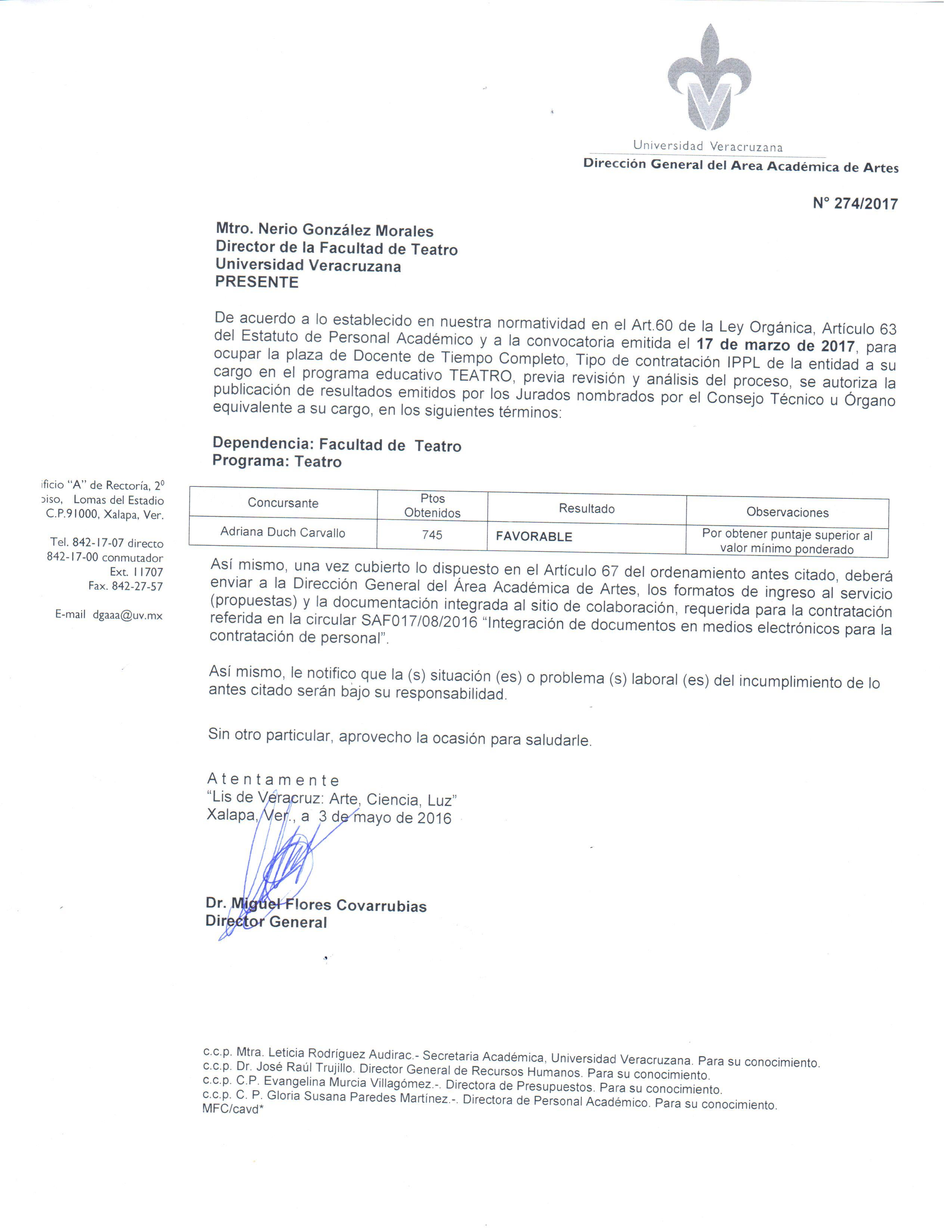 Resultado de la convocatoria para plaza de tiempo completo for Convocatoria de plazas docentes 2017