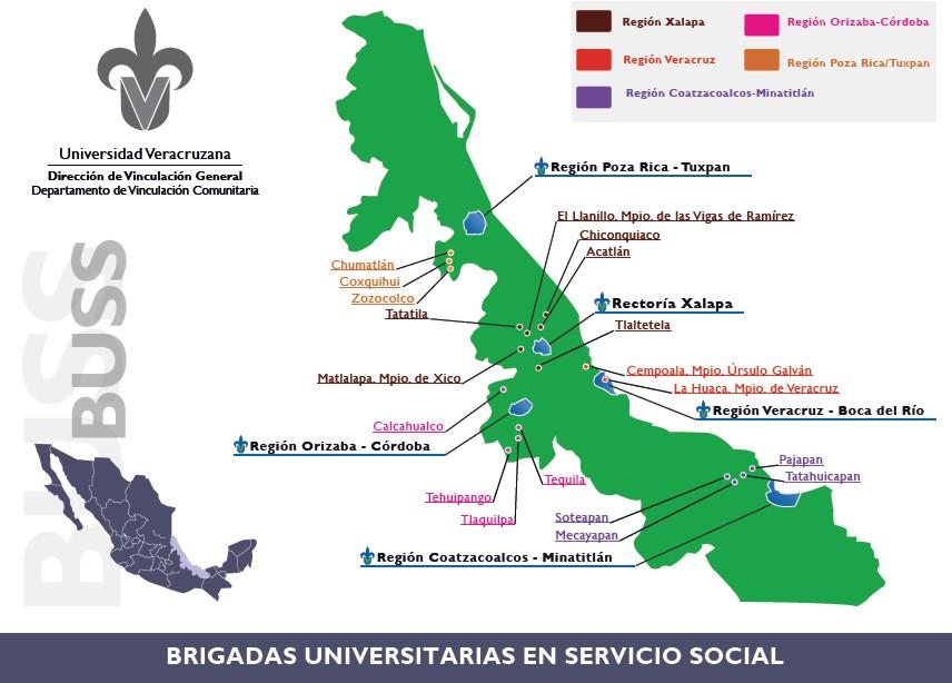 Distribución geográfica de las Brigadas Universitarias